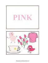 pink color flash cards