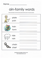 ain family worksheet