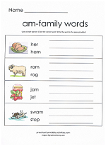 Worksheets Am Family Worksheets word family worksheets am worksheet