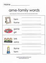 ame family worksheet