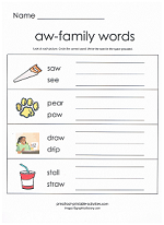 aw family worksheet