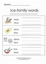 ice family worksheet