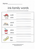 ink family worksheet