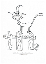 halloween cat on a fence coloring page