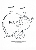 ghost in the graveyard coloring page