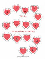 counting worksheet with valentine theme