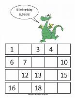 missing number counting worksheet
