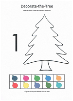 number 1 decorate the christmas tree cut and paste activity