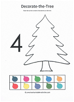 number 4 cut and paste decorate the christmas tree activity
