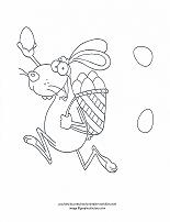 goofy easter bunny delivering eggs coloring page