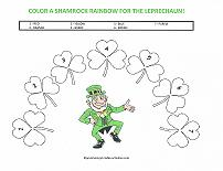 color a shamrock rainbow