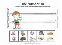 number 10 cut and paste activity with christmas theme