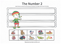 number 2 worksheet with elf on the shelf theme