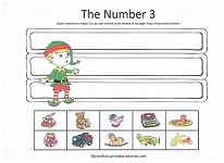 number 3 cut and paste worksheet with christmas theme