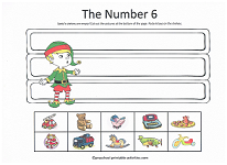 number 6 cut and paste activity with christmas theme