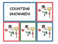 snowman theme counting flashcards
