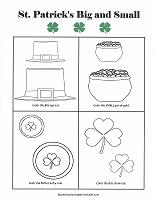 big and small worksheet for st patrick's day