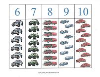 counting match-up with vehicle theme