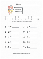 beginning subtraction with number lines worksheet