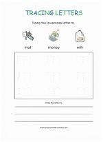 tracing m worksheet