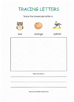 tracing o worksheet