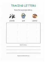 tracing p worksheet
