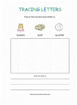 tracing q worksheet
