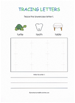 tracing t worksheet