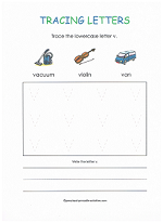tracing v worksheet