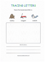 tracing w worksheet