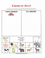 th-w-farm-zoo Tame And Wild Animals Worksheet For Kindergarten on
