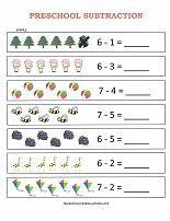 preschool subtraction worksheet