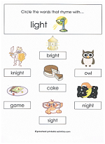 Printables Ight Words Worksheet word families worksheets ight family worksheet