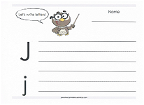 practice writing capital and lowercase j