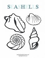 seashells coloring page