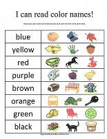 read color names worksheet