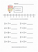 addition number line worksheet