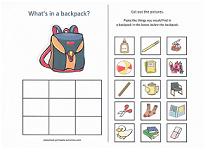 what goes in a backpack cut and paste activity