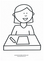 girl at school coloring page