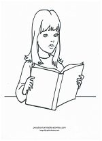 girl reading coloring page