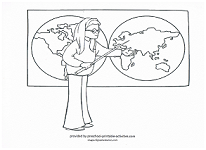 teacher with map coloring page