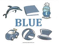 color blue teaching card