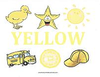 yellow objects wall card