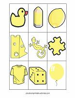 yellow color match game cards