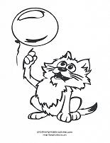 cat with balloon coloring page