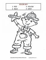 boy with airplane color by number