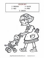 girl with baby doll coloring page