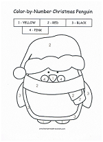 christmas penguin color by number
