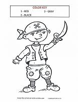 Color by number coloring pages for Pirate coloring pages for preschool