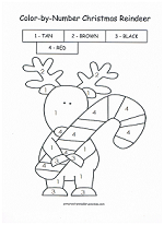 reindeer color by number - Christmas Coloring Pages Number